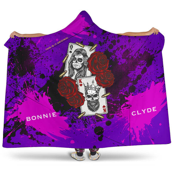 Customised name King & Queen Wild Violet Design Hooded Blanket
