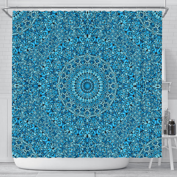 Sky Blue Mandala Shower Curtain