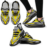 Racing Stripes Style Grey & Yellow Vibes Mesh Knit Sneakers