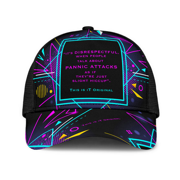 Retro Neon Geometric Design Anxiety Two Mesh Back Cap