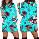 Lovely Light Blue Tattoo Studio Design Women's Hoodie Dress