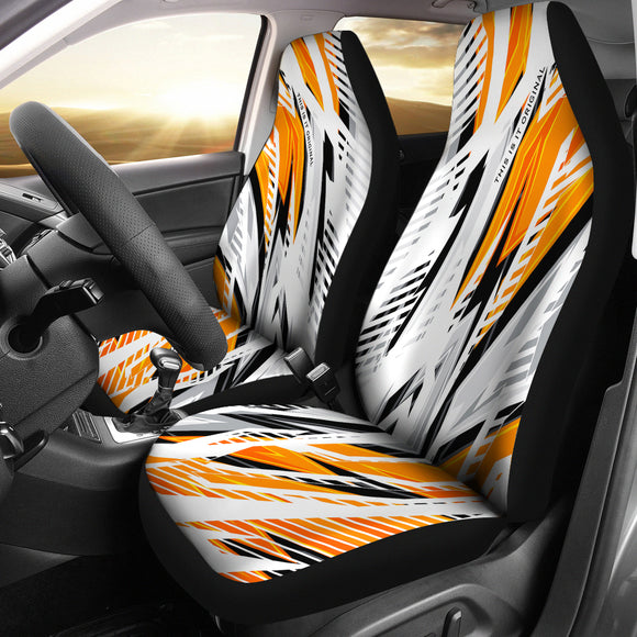 Extreme Racing Style Orange & White Design Car Seat Covers