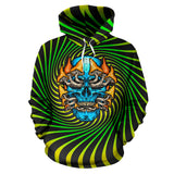 Psychedelic green & yellow design with mushroom and crazy skull one Hoodie