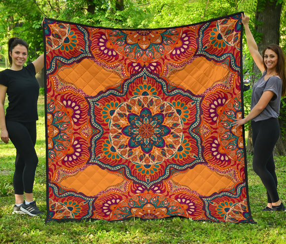 Orange Shot Mandala Premium Quilt
