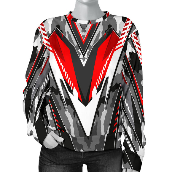 Racing Army Style Grey & Wild Red Colorful Vibe Women's Sweater