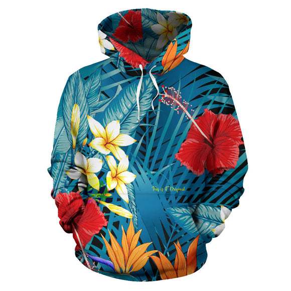 Tropical Flowers Art Design All Over Hoodie