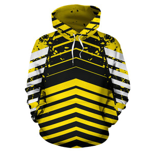 Racing Urban Style Yellow & Black Stripes Vibes All Over Hoodie