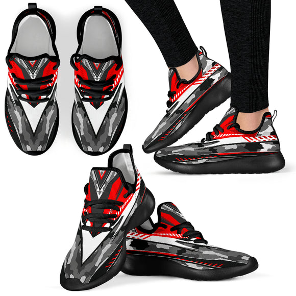 Racing Army Style Grey & Red Mesh Knit Sneakers
