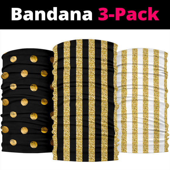 Luxury Stripes & Dots Gold Collection of Bandana 3-Pack