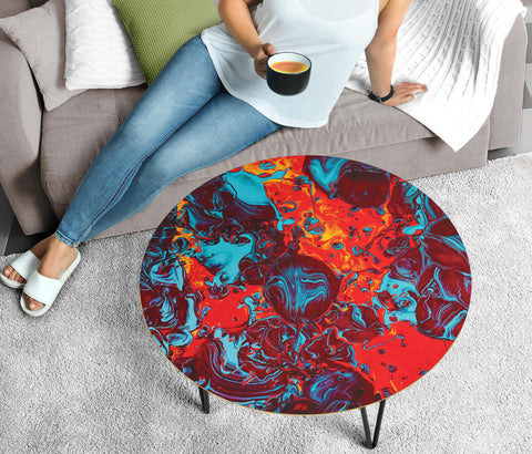 Funny Red Painting Circular Coffee Table