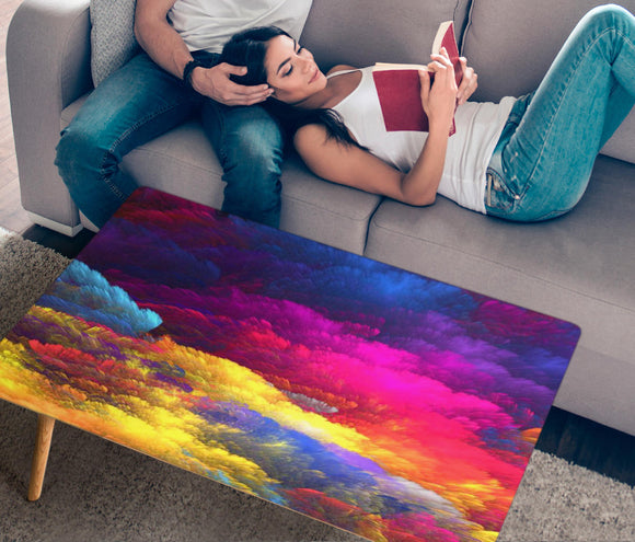 Colorful Clouds Rectangular Coffee Table