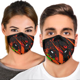 Luxury Racing Style Black & Neon Green Design Art Premium Protection Face Mask