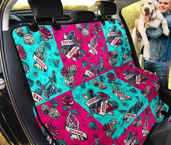 Neon Pink & Light Blue Tattoo Studio Art Design Pet Seat Cover