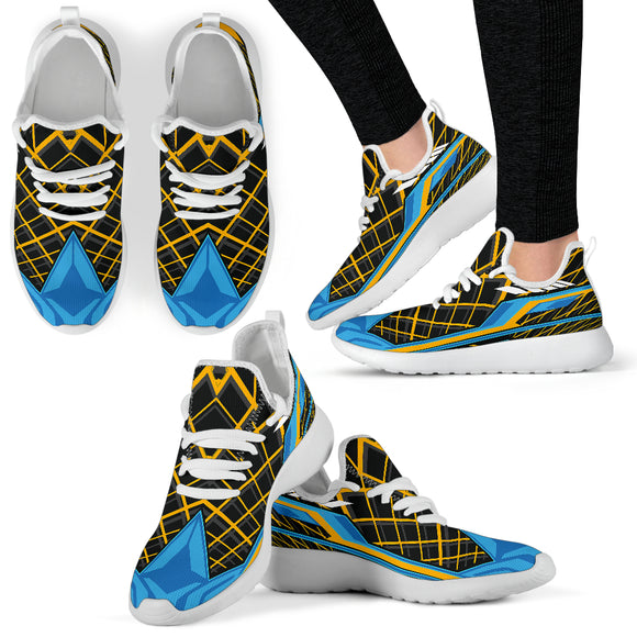 Racing Style Black & Light Blue 2 Mesh Knit Sneakers
