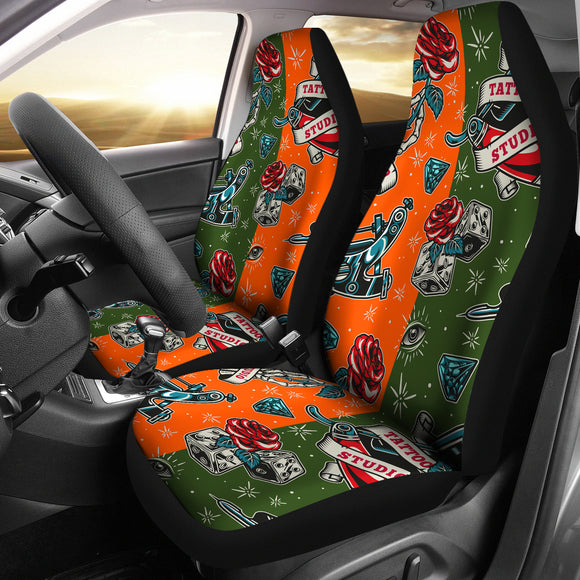 Orange & Dark Green Tattoo Studio Art Design Car Seat Covers