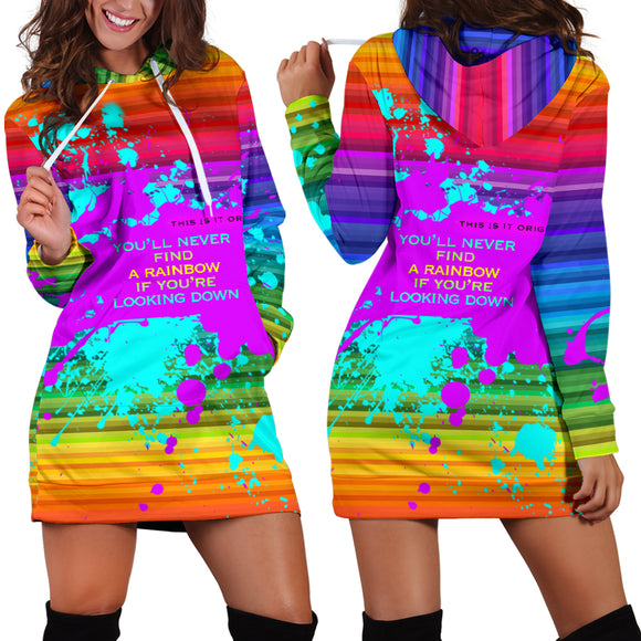 Rainbow Luxury Design Women's Hoodie Dress - Long Sweatshirt - Find a Rainbow