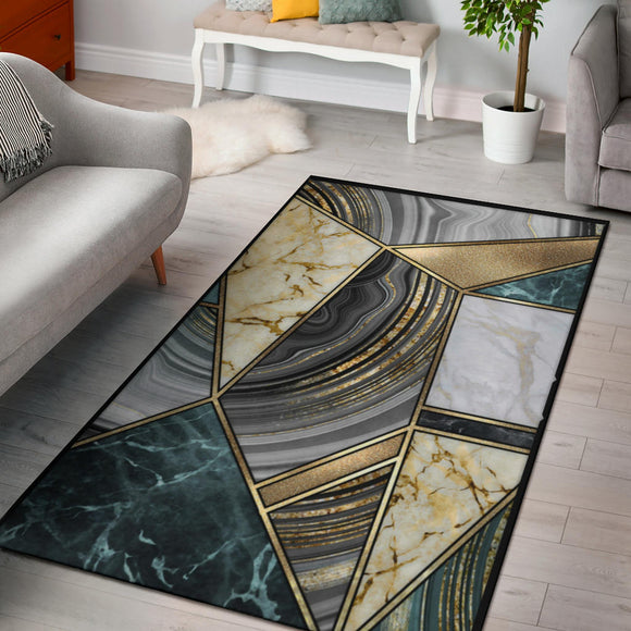 Faux Marble Geometric Gold Area Rug