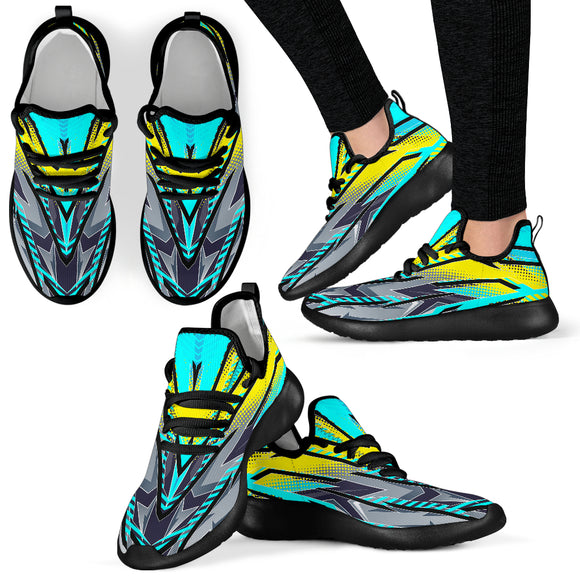Racing Style Ocean Blue & Yellow & Grey Colorful Vibe Mesh Knit Sneakers