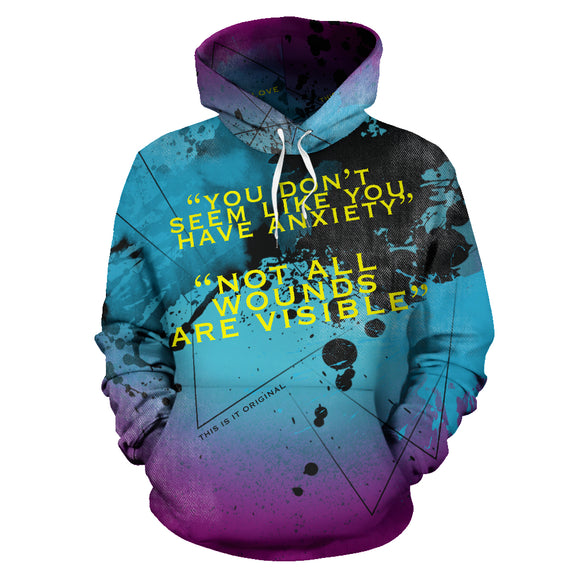 Light Blue Street Art Design With Black Painted Style - Not All Wounds Are Visible Hoodie