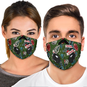 Tattoo Studio Design in Dark Army Green Vibes Premium Protection Face Mask