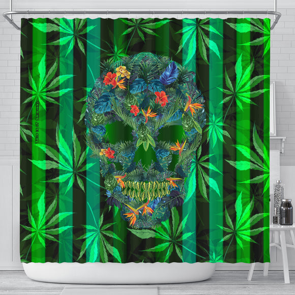 Tropical Skull Head In the Bathroom - Perfect Home Decor for Cannabis Lover - Shower Curtain
