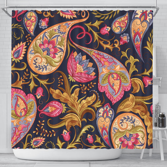 Royal Blue Paisley Shower Curtain