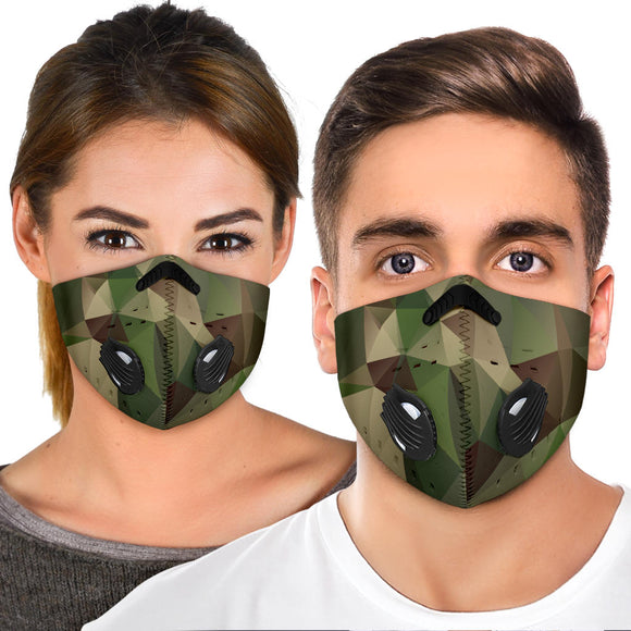 Geometric Army - Camouflage Design Three Premium Protection Face Mask