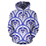 Amazing Traditional White & Blue Ornaments Vibes Two All Over Hoodie