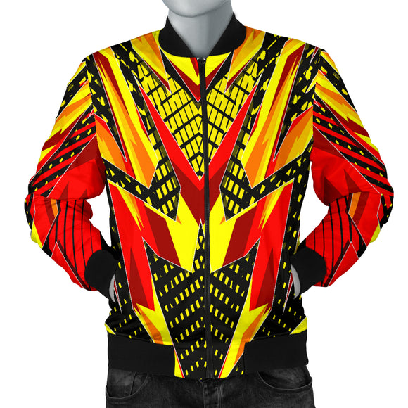 Racing Style Wild Red & Yellow Vibes Men's Bomber Jacket