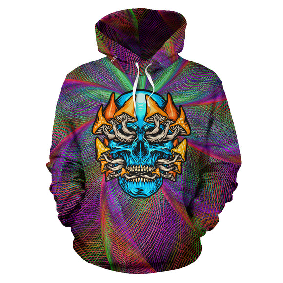 Colorful Psychedelic Design Skull with Mushrooms Three Hoodie