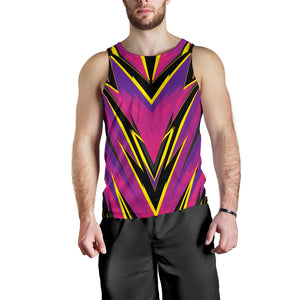Racing Style Purple & Yellow Men's Tank Top