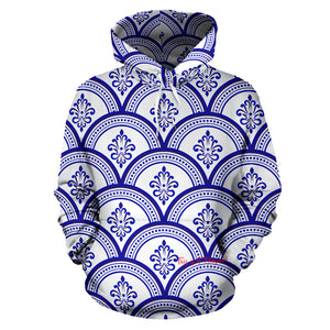 Amazing Traditional White & Blue Ornaments Vibes One All Over Hoodie