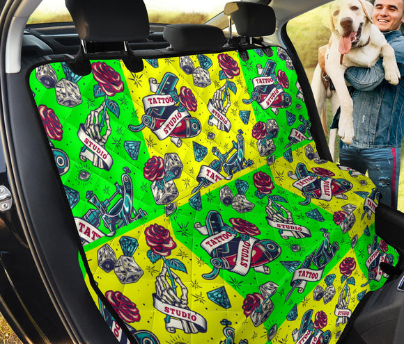 Neon Yellow & Neon Green Tattoo Studio Art Design Pet Seat Cover