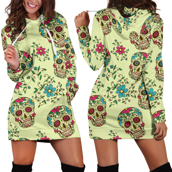 Green Sugar Skull Women's Hoodie Dress