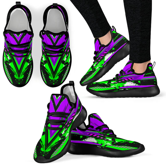 Racing Style Neon Green & Violet Mesh Knit Sneakers