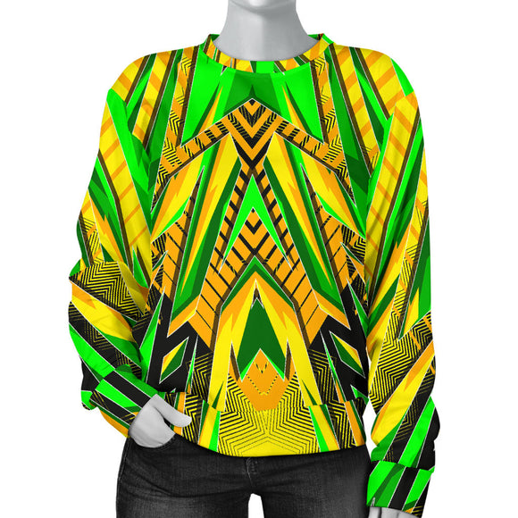 Racing Brazil Style Yellow & Neon Green Colorful Vibe Women's Sweater
