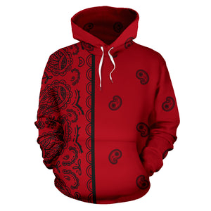 Red and Black Asymmetrical Bandana Style All Over Hoodie