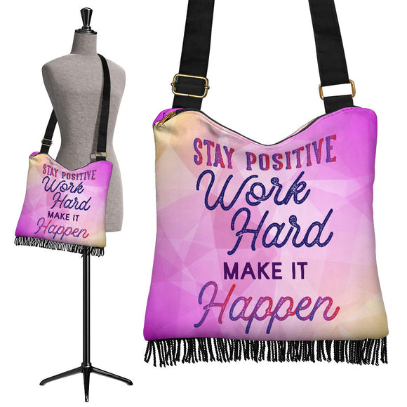 Stay Positive Crossbody Boho Handbag