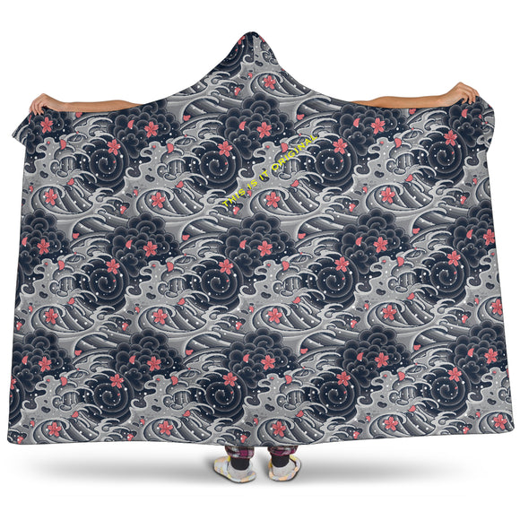 Special Grey Japan Wave with pink flower Hooded Blanket