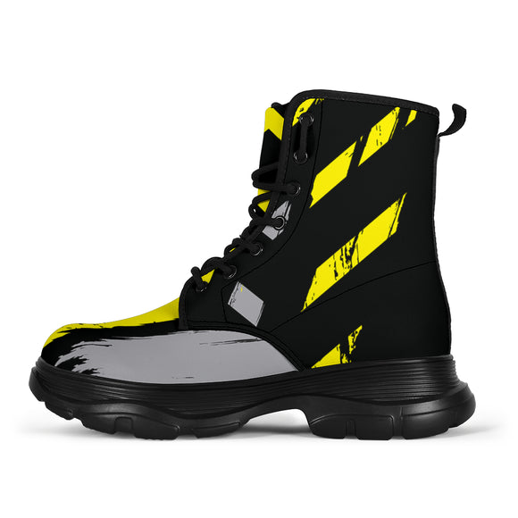 Racing Urban Style Industrial Yellow & Dark Black Vibes Chunky Boots