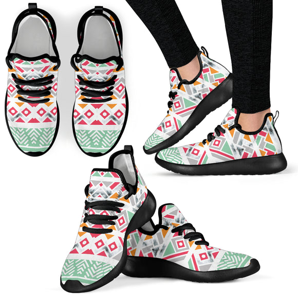 Colorful Ethnic Ornament with Marble Mesh Knit Sneakers