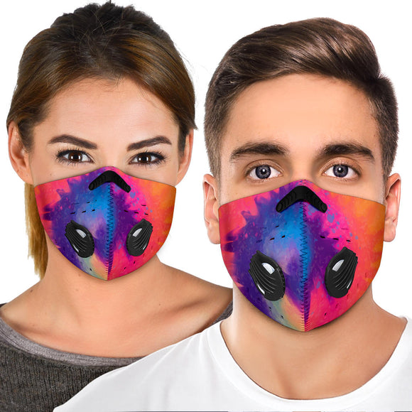 Beautiful Vibes Colorful Tie Dye Design One Premium Protection Face Mask