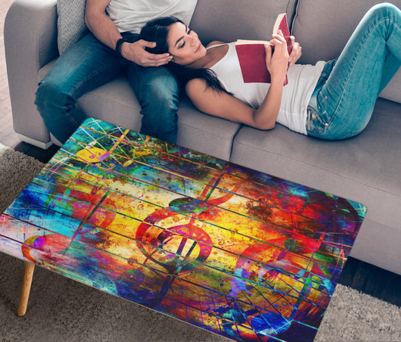 Abstract Musical Notes Rectangular Coffee Table