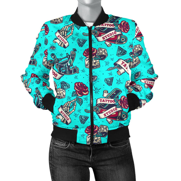 Tattoo Studio Design in Light Blue With Roses Women's Bomber Jacket