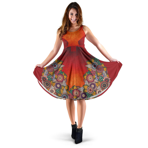 Ornamental Henna Hippie Women's Dress