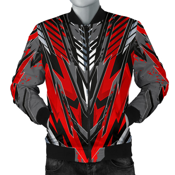 Racing Style Wild Red & Grey Colorful Vibe Men's Bomber Jacket
