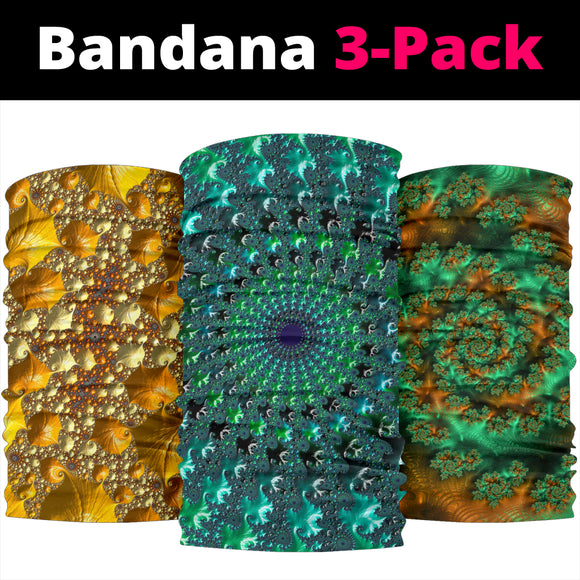 Psychedelic Abstract Mandala Style Collection Bandana 3-Pack