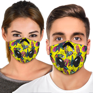 Hawkmoth Design in Neon Yellow Vibes Premium Protection Face Mask