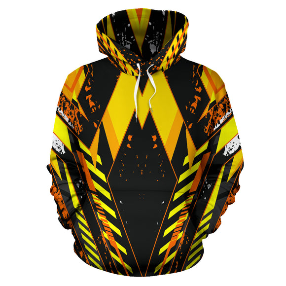 Racing Style Wild Orange & Black Vibes All Over Hoodie
