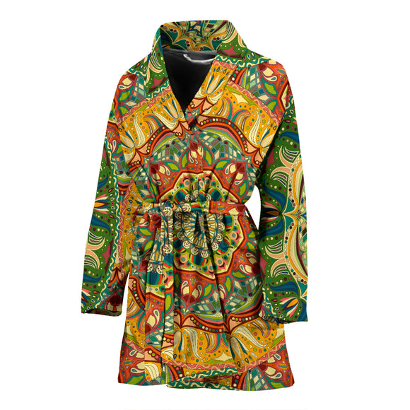 Luxury Colorful Yellow & Green Mandala Art Design Women's Bath Robe